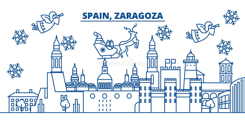 De horizon van de de winterstad van Spanje, Zaragoza Vrolijke gelukkige Kerstmis, stock illustratie
