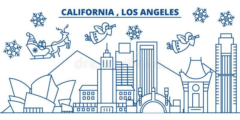 De horizon van de de winterstad van de V.S., Californië, Los Angeles Vrolijke Kerstmis en Gelukkige Nieuwjaar verfraaide banner d vector illustratie