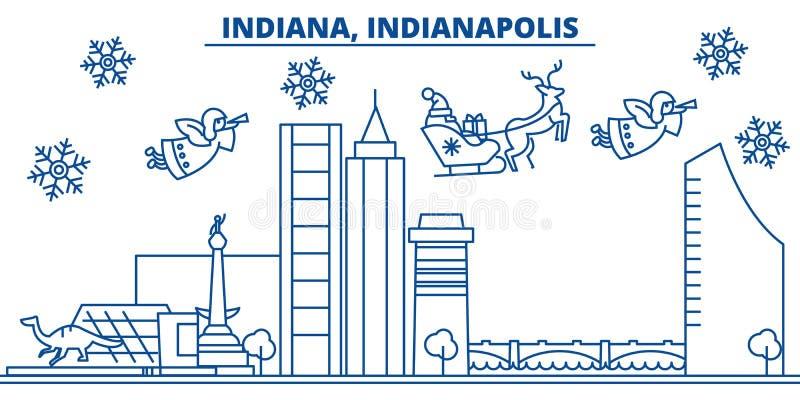 De horizon van de de winterstad van de V.S., Indiana, Indianapolis Vrolijke Kerstmis en Gelukkige Nieuwjaar verfraaide banner de  royalty-vrije illustratie