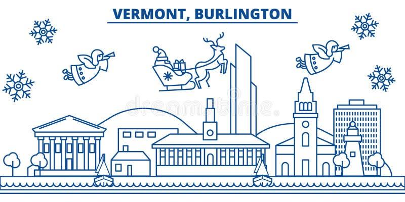 De horizon van de de winterstad van de V.S., Vermont, Burlington Vrolijke Kerstmis en Gelukkige Nieuwjaar verfraaide banner De ka vector illustratie