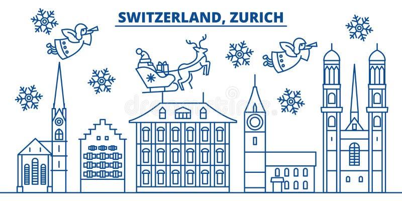 De horizon van de de winterstad van Zwitserland, Zürich vrolijke Kerstmis, vector illustratie