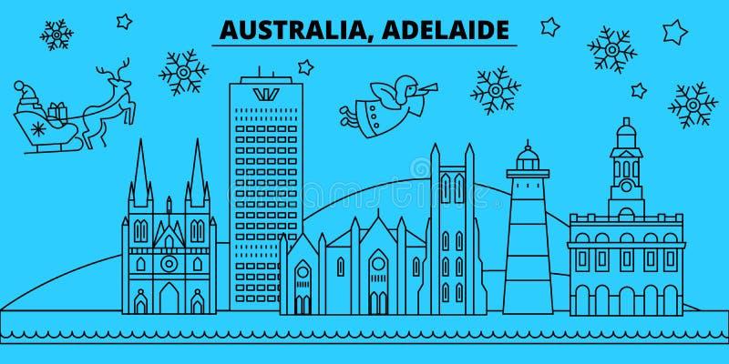 De horizon van de de wintervakantie van Australië, Adelaide Vrolijke Kerstmis, Gelukkige Nieuwjaar verfraaide banner met Santa Cl stock illustratie