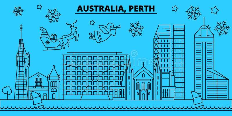 De horizon van de de wintervakantie van Australië, Perth Vrolijke Kerstmis, Gelukkige Nieuwjaar verfraaide banner met Santa Claus vector illustratie