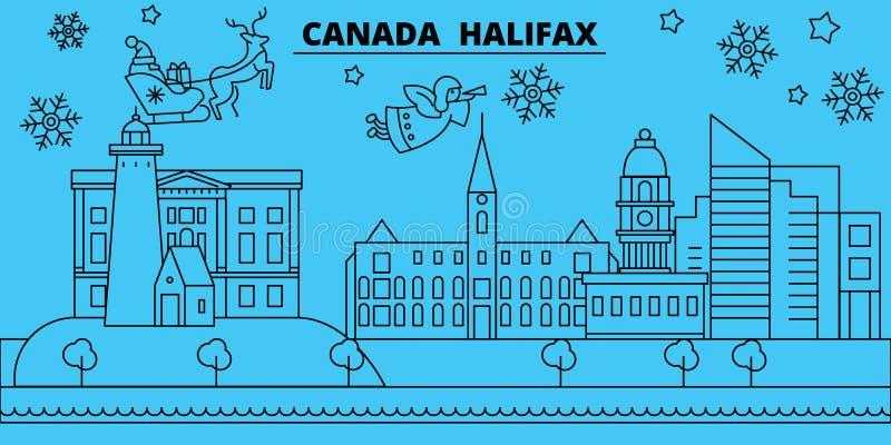 De horizon van de de wintervakantie van Canada, Halifax Vrolijke Kerstmis, Gelukkige Nieuwjaar verfraaide banner met Santa Claus  stock illustratie