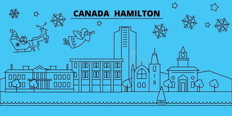 De horizon van de de wintervakantie van Canada, Hamilton Vrolijke Kerstmis, Gelukkige Nieuwjaar verfraaide banner met Santa Claus royalty-vrije illustratie