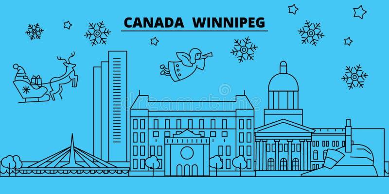 De horizon van de de wintervakantie van Canada, Winnipeg Vrolijke Kerstmis, Gelukkige Nieuwjaar verfraaide banner met Santa Claus vector illustratie