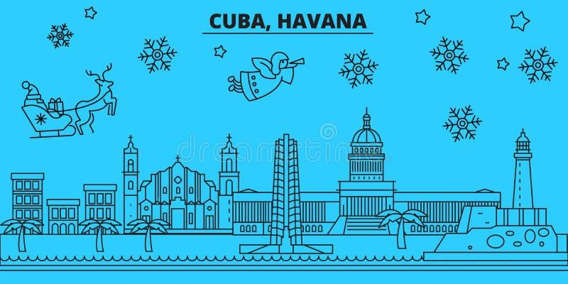 De horizon van de de wintervakantie van Cuba, Havana Vrolijke Kerstmis, Gelukkige Nieuwjaar verfraaide banner met Santa Claus Cub stock illustratie