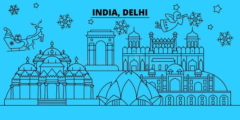 De horizon van de de wintervakantie van India, Delhi Vrolijke Kerstmis, Gelukkige Nieuwjaar verfraaide banner met Santa Claus Ind vector illustratie
