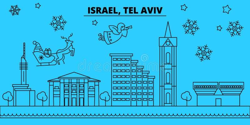 De horizon van de de wintervakantie van Israël, Tel Aviv Vrolijke Kerstmis, Gelukkige Nieuwjaar verfraaide banner met Santa Claus vector illustratie