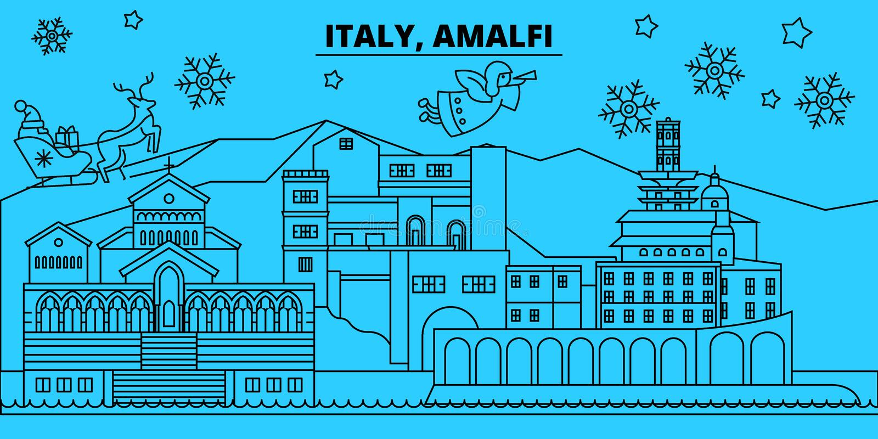 De horizon van de de wintervakantie van Italië, Amalfi Vrolijke Kerstmis, Gelukkige Nieuwjaar verfraaide banner met Santa Claus I royalty-vrije illustratie