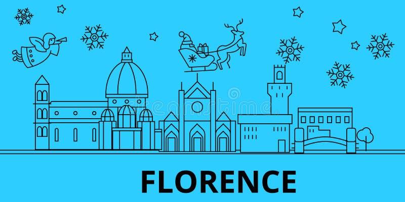 De horizon van de de wintervakantie van Italië, Florence Vrolijke Kerstmis, Gelukkige Nieuwjaar verfraaide banner met Santa Claus royalty-vrije illustratie
