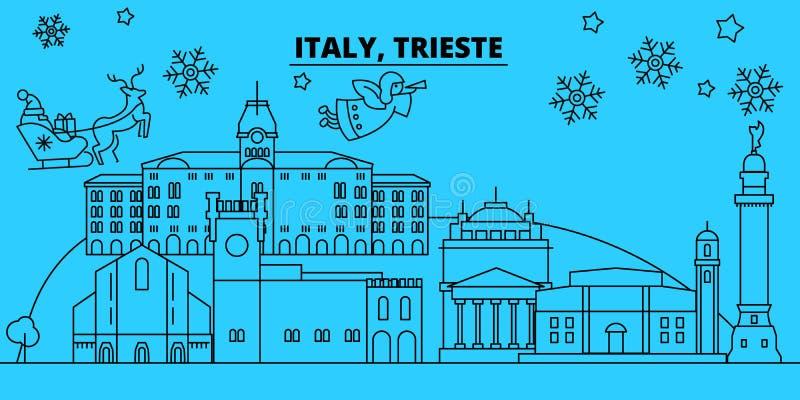 De horizon van de de wintervakantie van Italië, Triëst Vrolijke Kerstmis, Gelukkige Nieuwjaar verfraaide banner met Santa Claus I vector illustratie