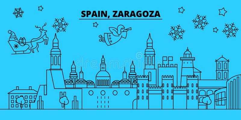 De horizon van de de wintervakantie van Spanje, Zaragoza Vrolijke Kerstmis, Gelukkige Nieuwjaar verfraaide banner met Santa Claus stock illustratie