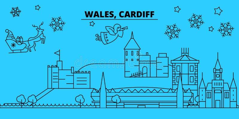 De horizon van de de wintervakantie van Wales, Cardiff Vrolijke Kerstmis, Gelukkige Nieuwjaar verfraaide banner met Santa Claus W stock illustratie