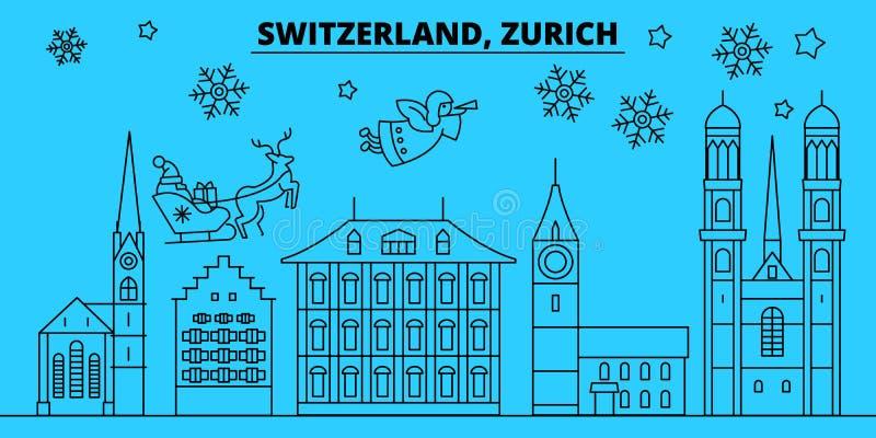 De horizon van de de wintervakantie van Zwitserland, Zürich Vrolijke Kerstmis, Gelukkige Nieuwjaar verfraaide banner met Santa Cl royalty-vrije illustratie