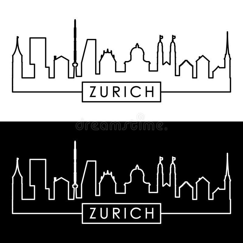 De horizon van Zürich lineaire stijl vector illustratie