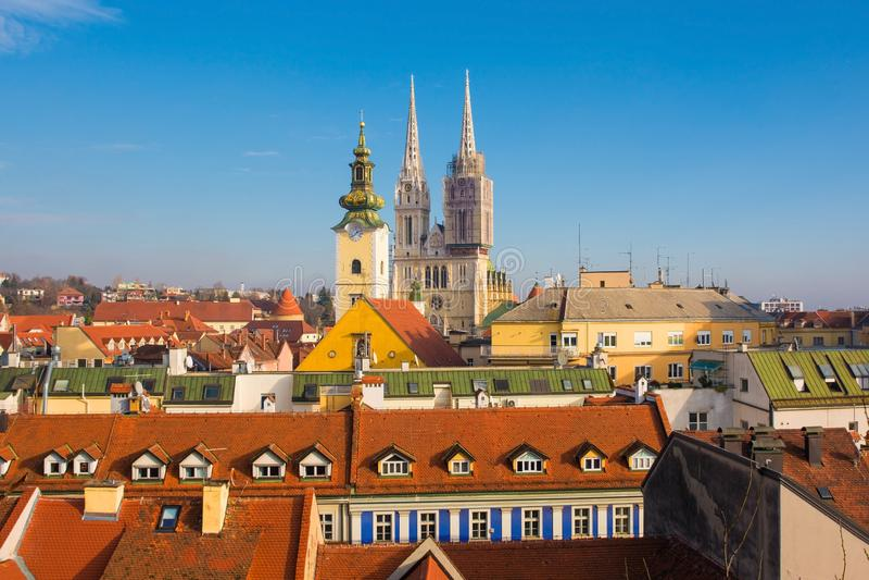 De horizon van Zagreb royalty-vrije stock afbeelding