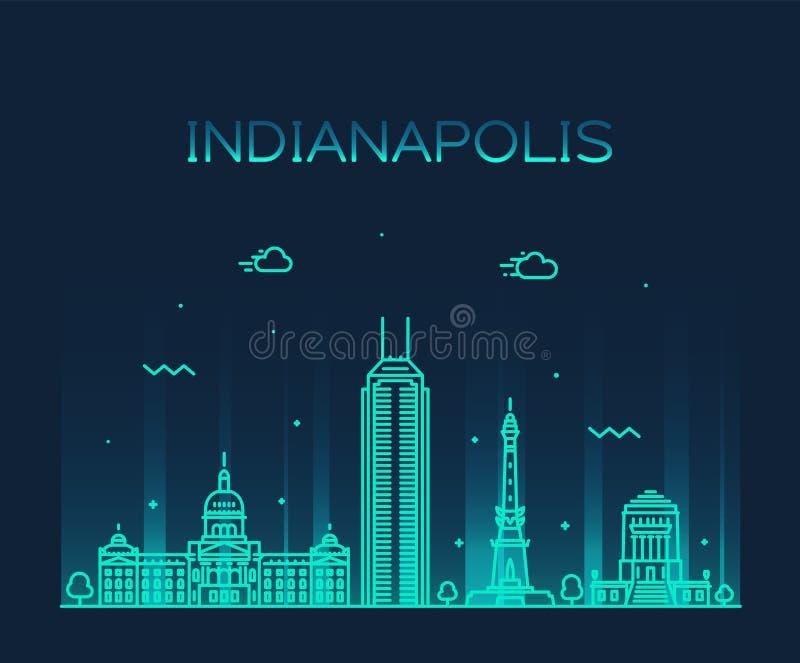 De horizon vector de lijnstad van Indiana, de V.S. van Indianapolis stock illustratie