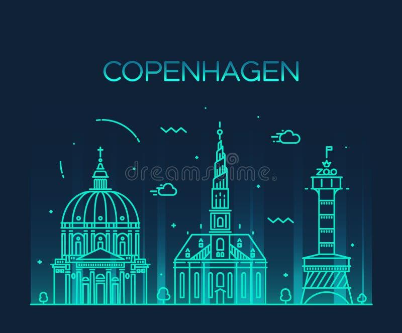 De horizon in vector lineaire stijl van Kopenhagen stock illustratie