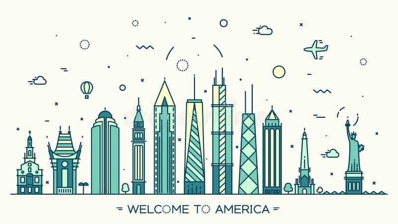 De horizon vector lineaire stijl van Verenigde Staten Amerika stock illustratie