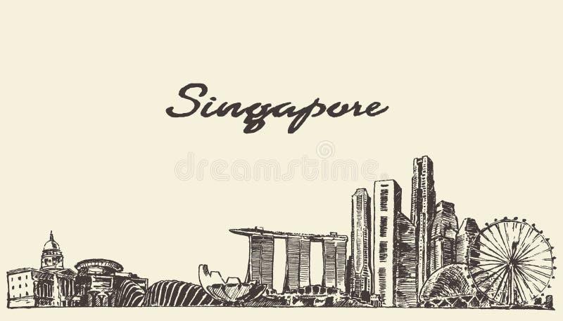 De horizon vectorillustratie getrokken schets van Singapore stock illustratie