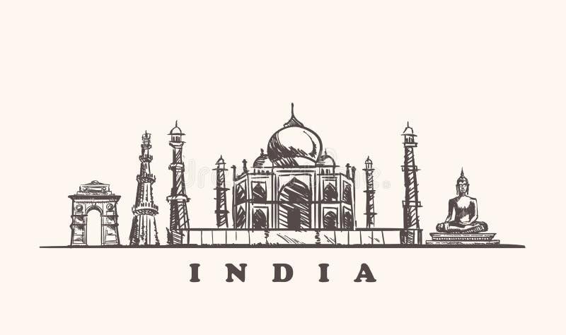 De horizon vectorillustratie van India Getrokken de schetshand van India vector illustratie