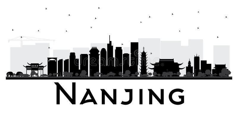 De horizon zwart-wit silhouet van Nanjingschina royalty-vrije illustratie