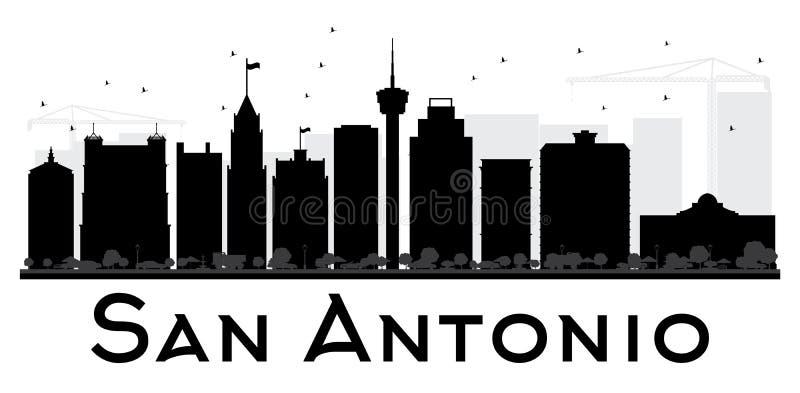 De horizon zwart-wit silhouet van San Antonio City stock illustratie