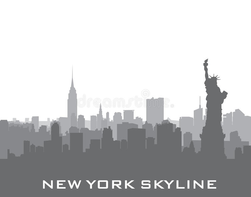 De horizonachtergrond van New York, de V.S. Stadssilhouet met Vrijheidsstandbeeld royalty-vrije illustratie