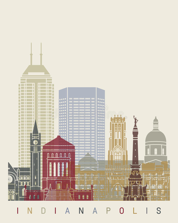 De horizonaffiche van Indianapolis vector illustratie