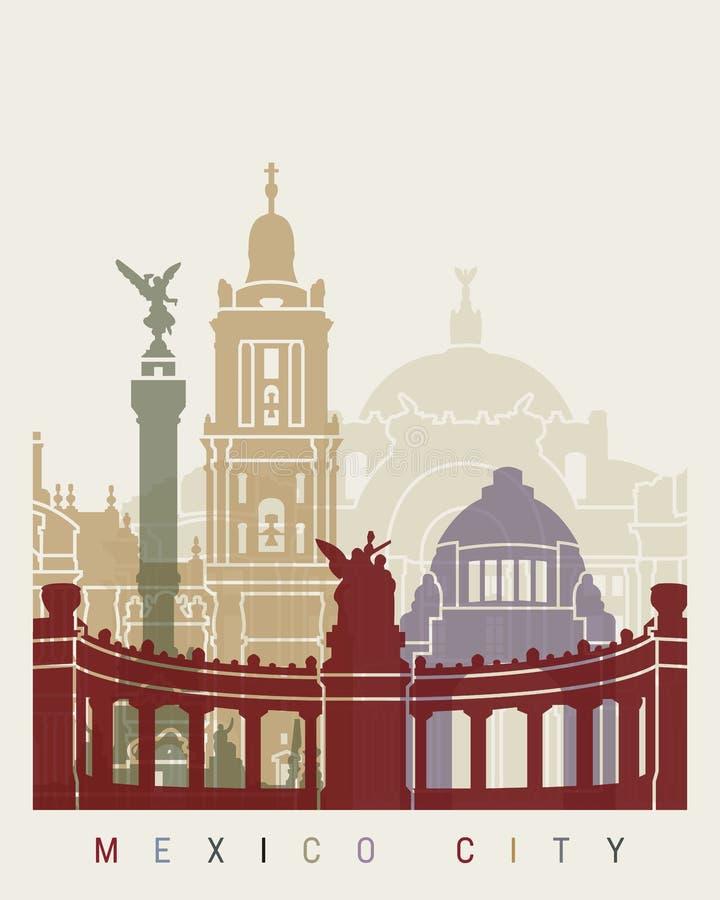 De horizonaffiche van Mexico-City royalty-vrije illustratie