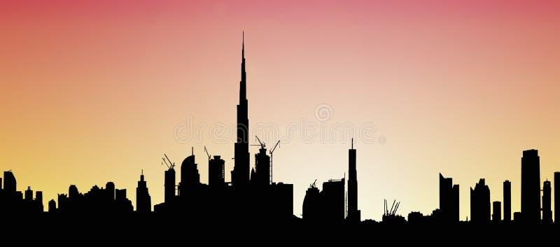 De Horizonillustratie van Doubai bij zonsondergang stock illustratie