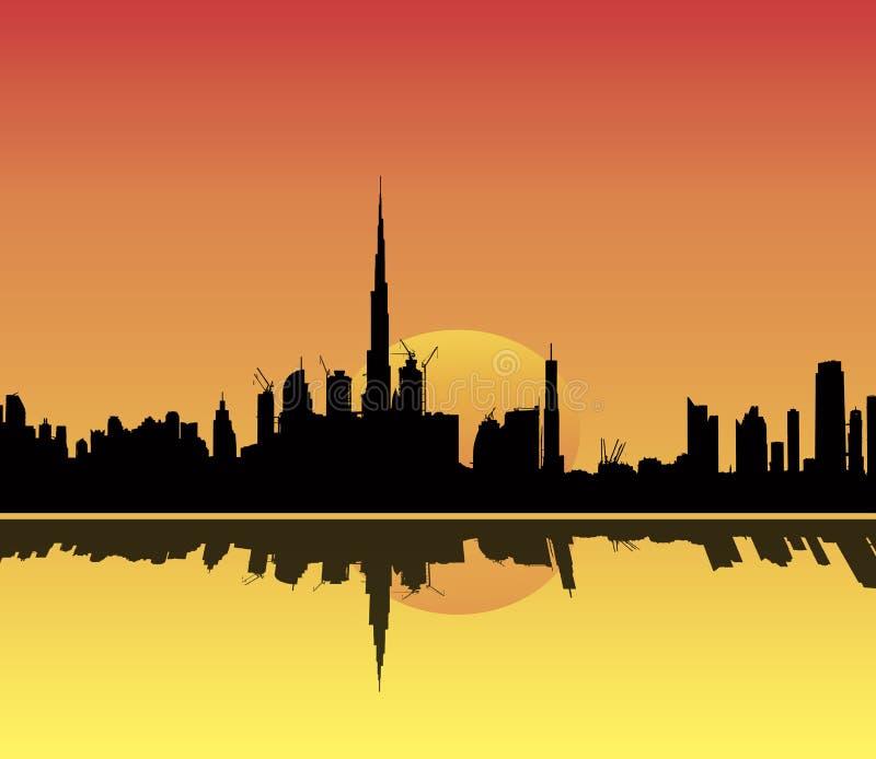 De Horizonillustratie van Doubai bij zonsondergangbezinning stock illustratie
