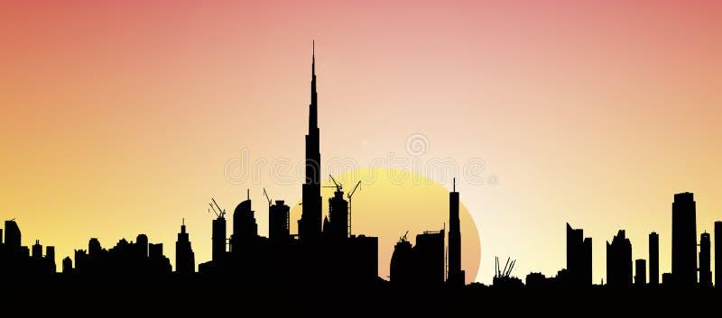 De Horizonillustratie van Doubai met zon bij zonsondergang vector illustratie