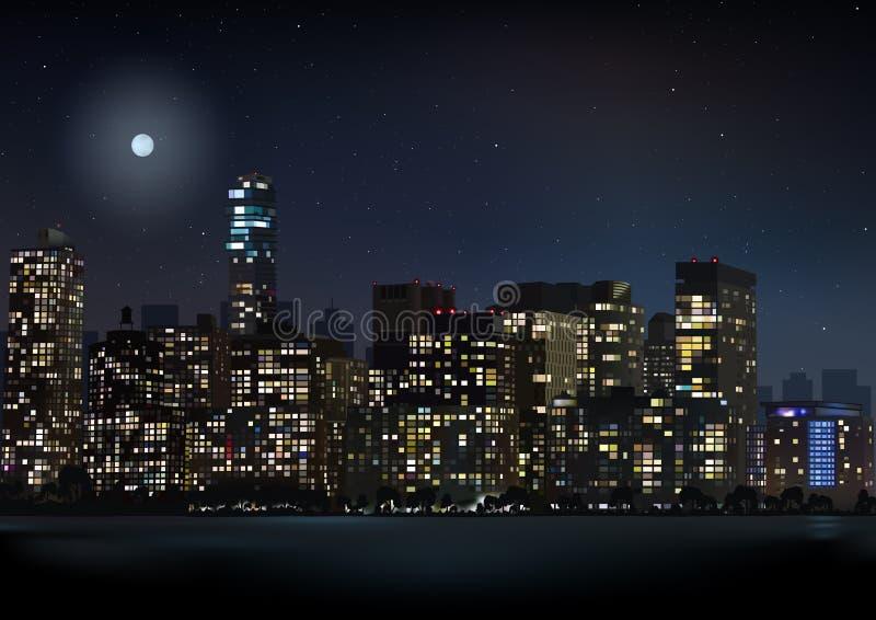 De Horizonillustratie van de nachtstad royalty-vrije illustratie