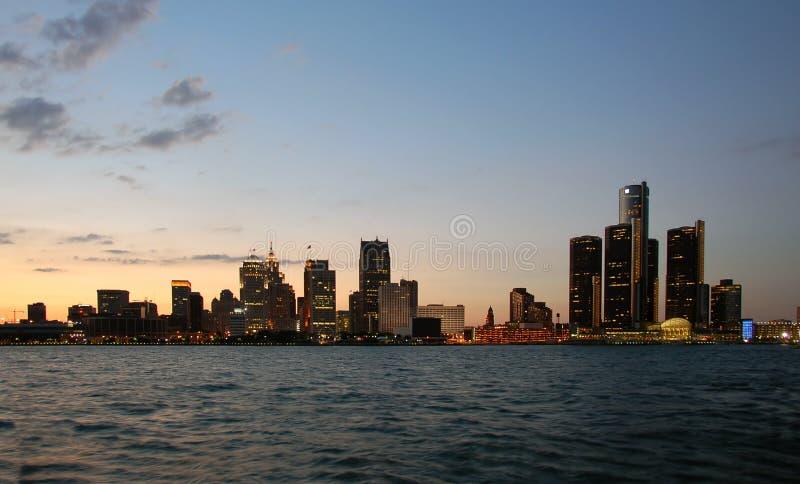 De horizonnacht van Detroit royalty-vrije stock afbeeldingen