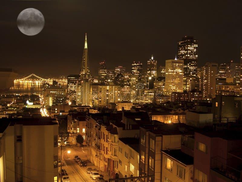 De horizonnacht van San Francisco stock afbeelding