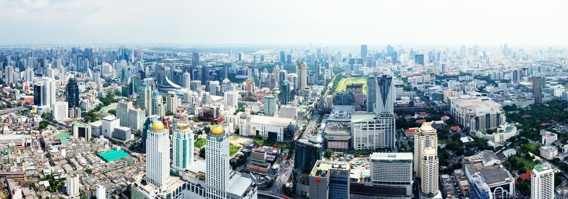 De horizonpanorama van Bangkok royalty-vrije stock fotografie