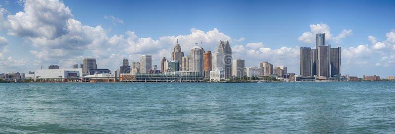 De horizonpanorama van Detroit royalty-vrije stock afbeelding