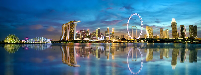 De Horizonpanorama van Singapore stock foto
