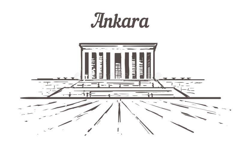 De horizonschets van Ankara, een tkabirhand getrokken illustratie stock illustratie
