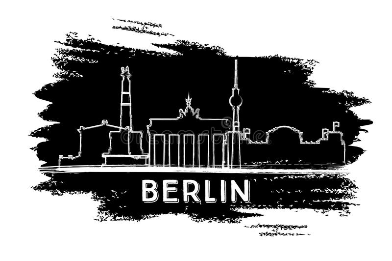 De horizonsilhouet van Berlijn Hand getrokken schets stock illustratie