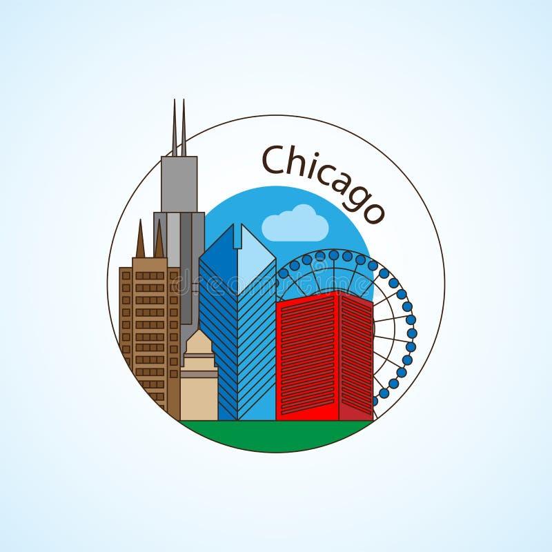 De horizonsilhouet van Chicago de V.S., zwart-wit ontwerp, vectorillustratie stock illustratie