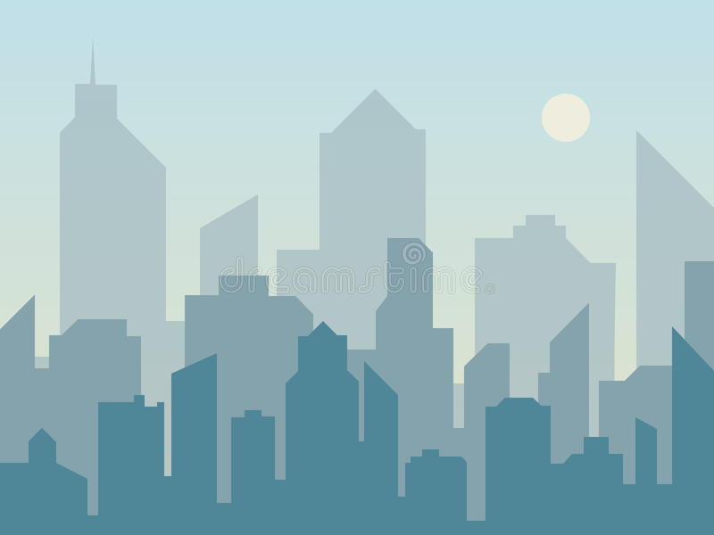 De horizonsilhouet van de ochtendstad in vlakke stijl Modern stedelijk landschap Cityscape achtergronden vector illustratie