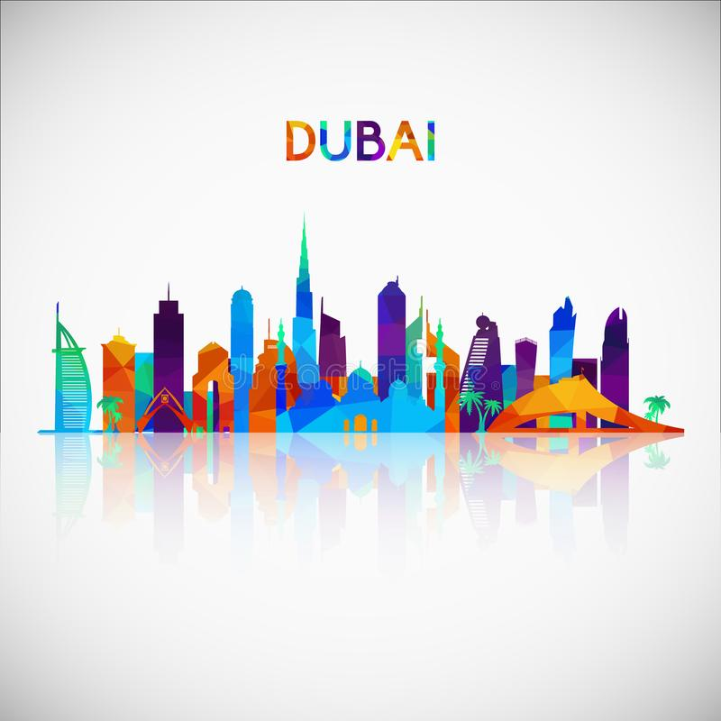 De horizonsilhouet van Doubai in kleurrijke geometrische stijl royalty-vrije illustratie