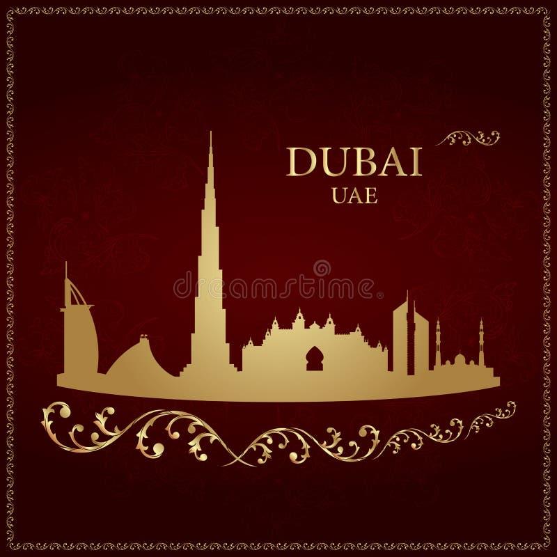 De horizonsilhouet van Doubai op uitstekende achtergrond royalty-vrije illustratie