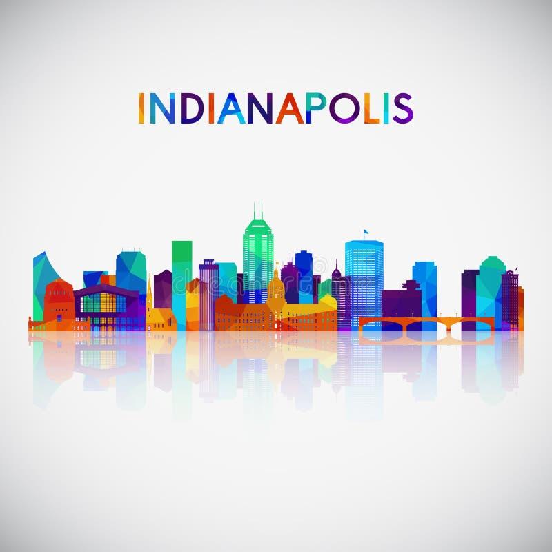 De horizonsilhouet van Indianapolis in kleurrijke geometrische stijl stock illustratie