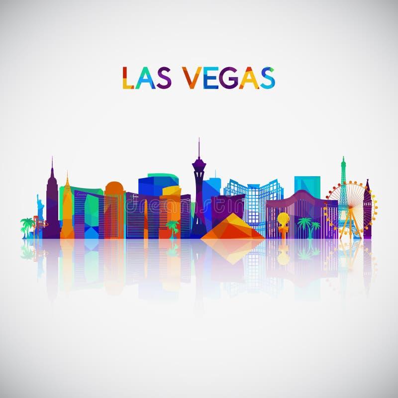 De horizonsilhouet van Las Vegas in kleurrijke geometrische stijl vector illustratie