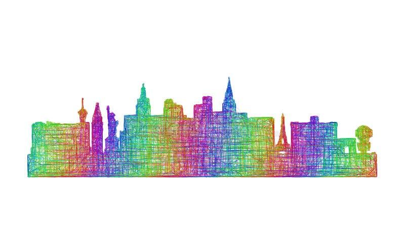 De horizonsilhouet van Las Vegas - veelkleurig lijnart. royalty-vrije illustratie