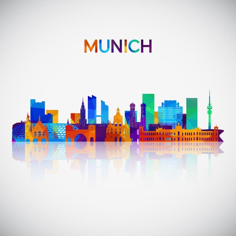 De horizonsilhouet van München in kleurrijke geometrische stijl vector illustratie